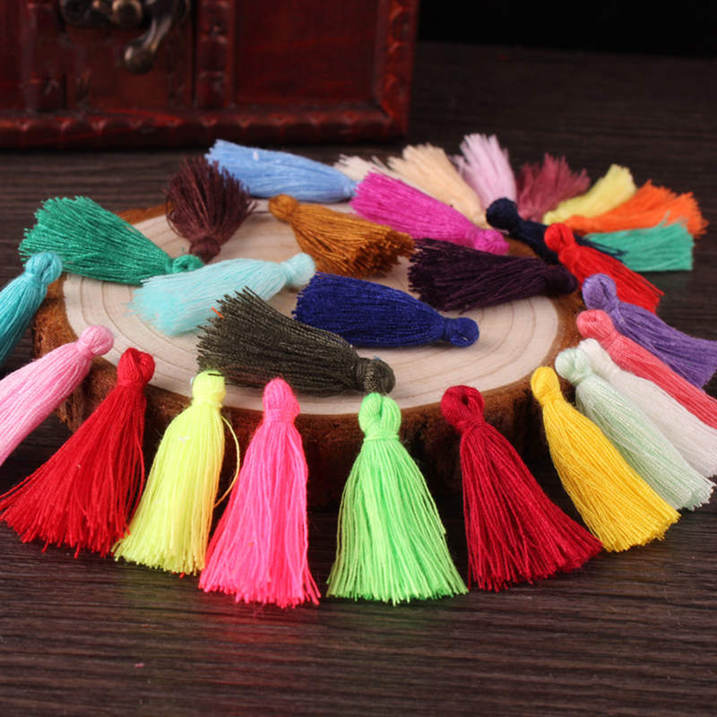 50Pcs Mix Color Mini Tassel Fringe Pendant DIY Party Hanging Ring Cords Tassel Trim Garments Curtains Jewelry Decor Tassels Lace