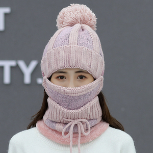 Image 5 - womens hat ladies autumn and winter knit hat wild youth ear protection winter warm plus velvet thick bike wool hat female