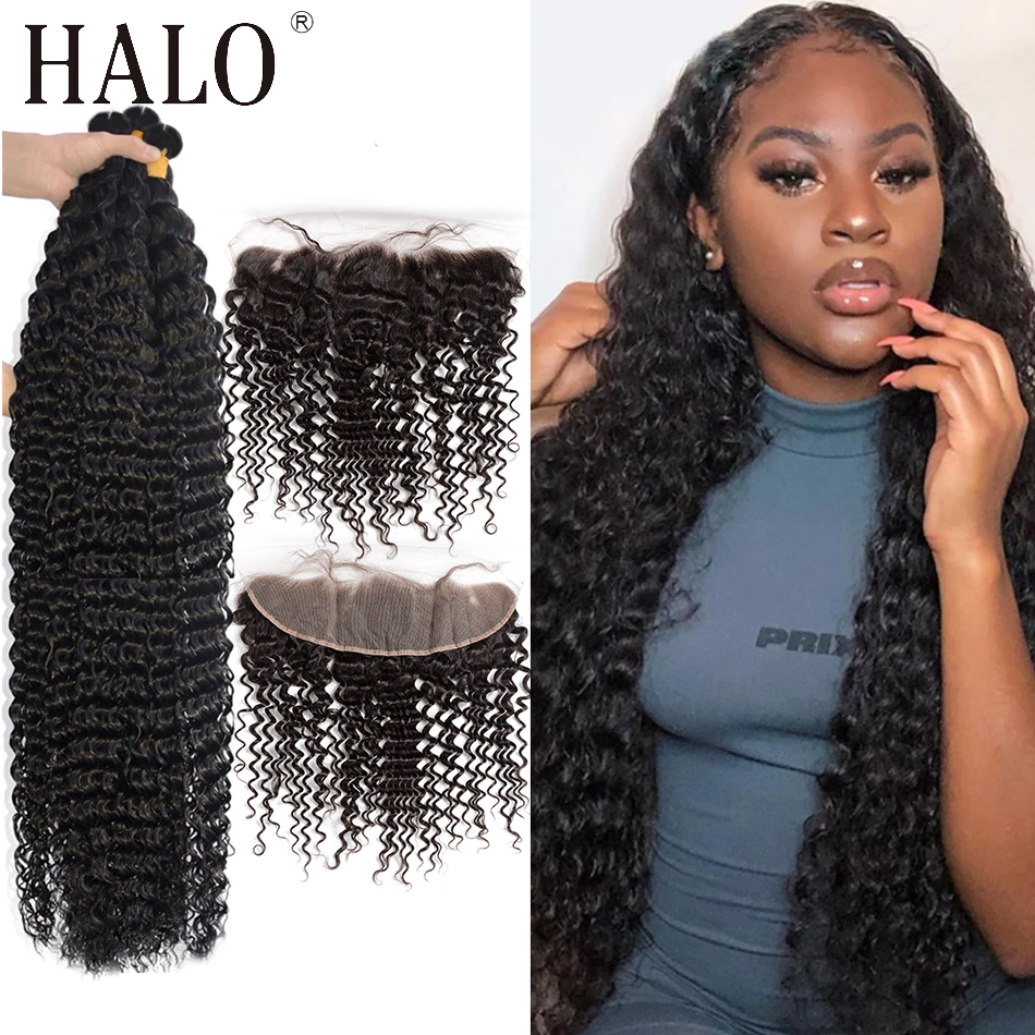 Halo 28 30 40 дюймов глубокая волна бразильские волосы переплетения 3 4 пряди с кружевной фронтальной и закрывающей водой вьющиеся волосы Remy прод...