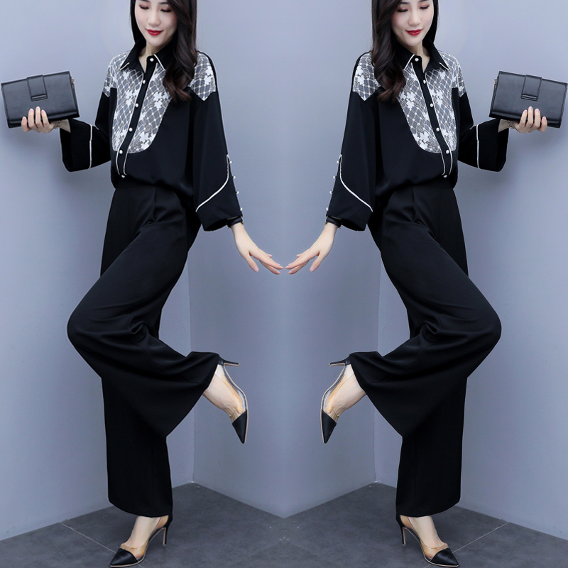 2019 Autumn Black Elegant Two Piece Sets Outfits Women Printed Tops And Wide Leg Pants Suits Office Korean Fashion 2 Piece Sets 30