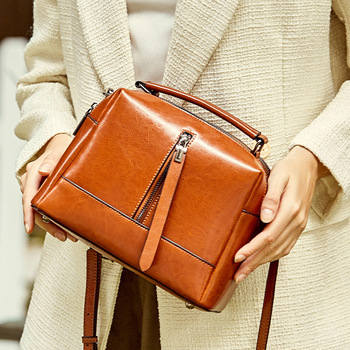 Vintage Cowhide Ladies Handbag Small Flap Bag 2019 New Oil Wax Leather Tote High Quality Female Casual Shoulder Bags Messenger