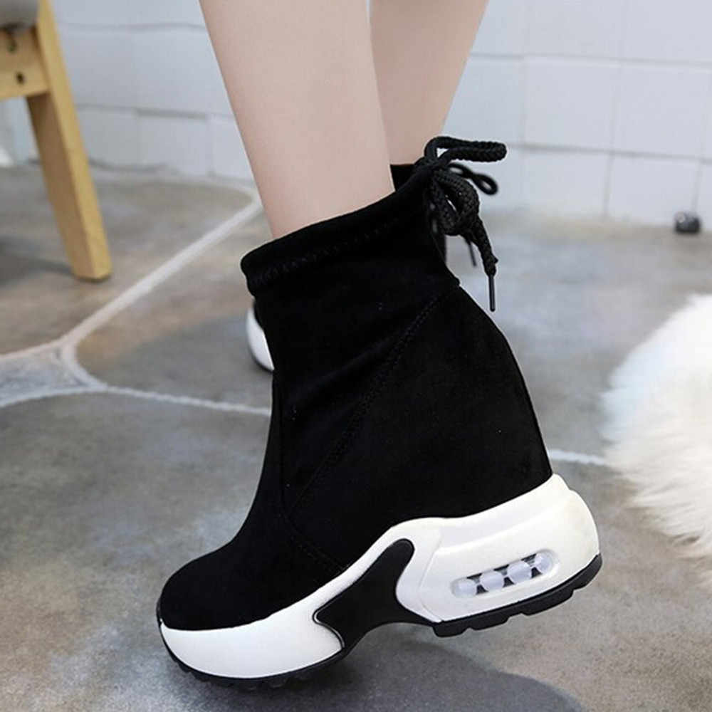 Muffin Platform Snow Boot Women Outdoor Winter Short Boots Sport High Heel Casual Thick Bottom Ankle Shoes Warm Sneakers Fur