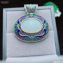 KJJEAXCMY Fine Jewelry 925 Sterling Silver inlaid Natural white jade Cloisonne popular Female new Pendant Necklace Support test