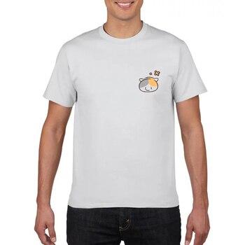 Camiseta de color puro para hombre cuello redondo 100% con estampado de gato de algodón Camiseta con estampado de tela ancha casual de manga corta Camiseta multicolor