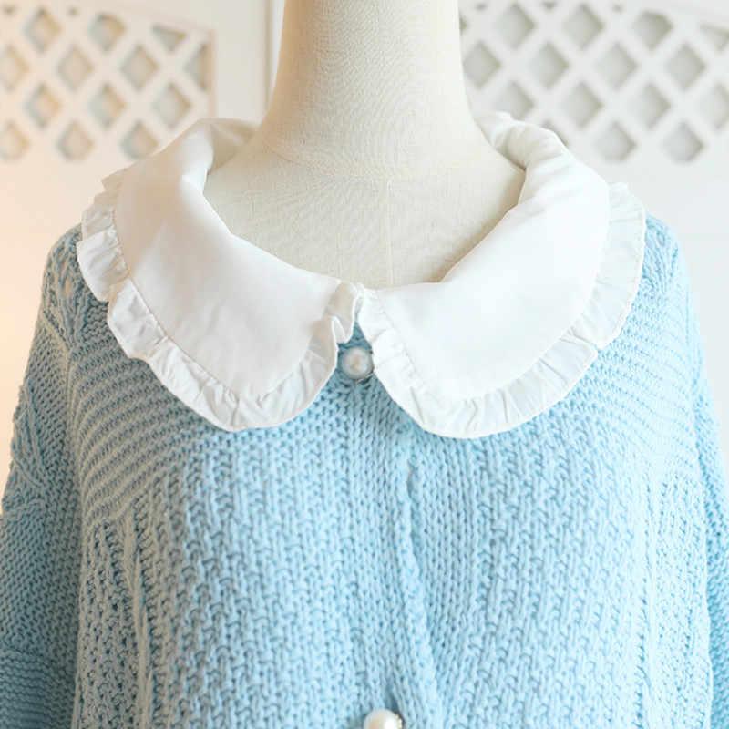 SWEETXUE осень-зима Для женщин комплект из двух предметов свободного кроя «кукольным» воротником кардиган, вязаный свитер с кружевами и блестками, нерегулярные Тюлевая юбка наборы для ухода за кожей