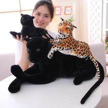 Peluche de leopardo gigante Pantera Negra de 30 120cm, almohada suave con relleno de Animal, muñeco de Animal, tigre blanco y amarillo, juguetes para niños
