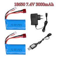 Batería lipo 2S 18650 7,4 V 3000 MAH para Wltoys 10428 12428 12423 Q46 RC, repuestos de batería de coche/cargador 7,4 V 3000 MAH