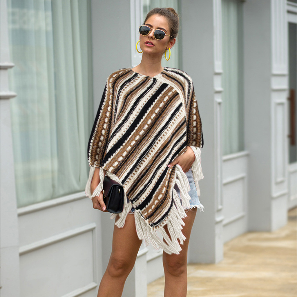 2019 Winter Women Knitted Cashmere Poncho Tassel Cardigans Sweater Striped Warm Pashmina Scarves Shawls Lady Wrap Poncho Capes