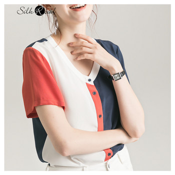 цена Silviye Silk shirt women's color blocking silk top short sleeve T-shirt summer blusas mujer de moda 2020 онлайн в 2017 году