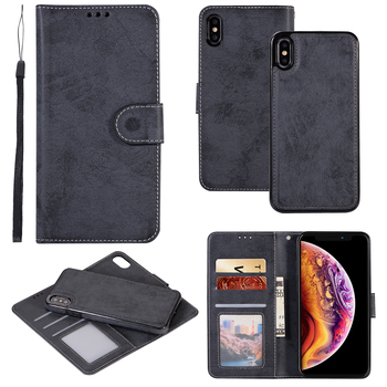 XR Shell For iPhone 11 Pro XS Max X 5 SE 6 8 7 Plus Case Retro Leather Wallet 2 in 1 Magnetic Detachable Flip Cases Cover Coque