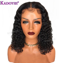 Deep Curly Bob Wig Brazilian Lace Front Human Hair Wigs Preplucked Bleached Knots Remy Hair 13x4 Front Lace Wig For Black Women