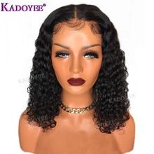 Deep Curly Bob วิกผมบราซิลลูกไม้ด้านหน้าด้านหน้ามนุษย์ Wigs ก่อน Plucked Bleached Knots Remy Hair 13x4 ลูกไม้ด้านหน้าวิกผมผู้หญิง