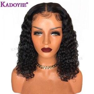 Image 1 - Diepe Krullend Bob Pruik Braziliaanse Kant Voor Menselijk Haar Pruiken Preplucked Gebleekte Knopen Remy Haar 13x4 Front Lace pruik Voor Zwarte Vrouwen
