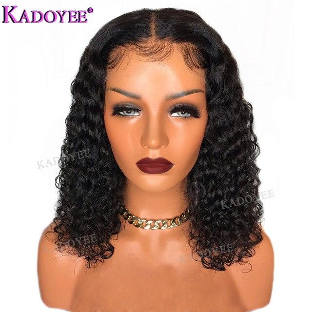 Diepe Krullend Bob Pruik Braziliaanse Kant Voor Menselijk Haar Pruiken Preplucked Gebleekte Knopen Remy Haar 13x4 Front Lace pruik Voor Zwarte Vrouwen