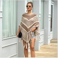 Women's sweater Cape 2020 new spring and autumn winter women's knitting EU fashion fringe sweater Cape