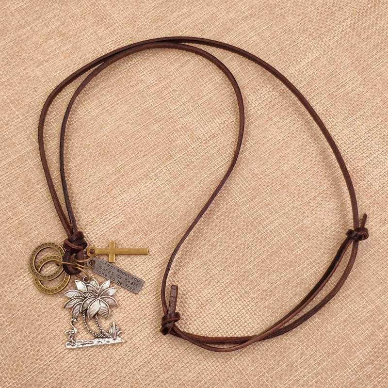 100% Cowhide เชือกสร้อยคอของแท้หนัง Punk ocean coconut tree mermaid apple Bronze Cross Loop Letter Tag ของขวัญชาย AC063-68