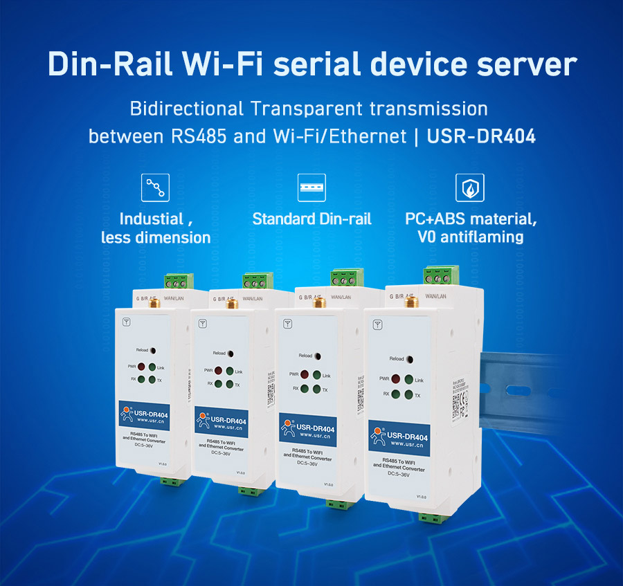 1pc Din-rail Serial Wifi Converter RS485 To Wireless  Wifi Rj45 Ethernet Server Support TCP IP UDP Network Protocols