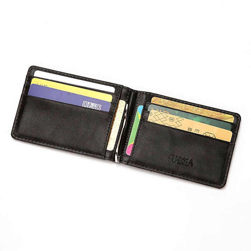 RFID Men's Leather Slim Bifold Money Clip Wallet Front Pocket Credit Card Holder