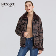 MIEGOFCE 2019 New Winter Women's Collection Faux Fur Jacket Women's Winter Coat Waist Length Windproof Resistant Collar With Fur(China)
