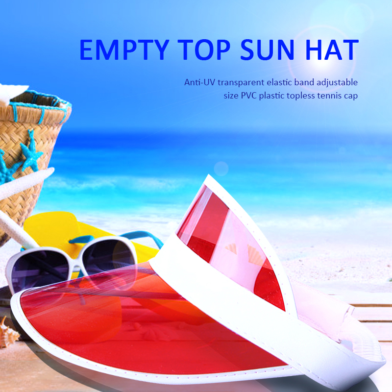 Summer Sun Hat Sunshade Hat Women Unisex Candy Color Transparent Empty Top Plastic PVC Visor Caps Bicycle Cycling Sports Caps