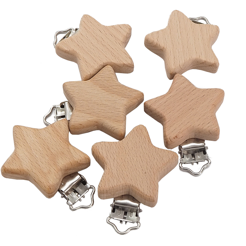 Chenkai 50PCS Wood Five-Pointed Star Clip DIY Organic Eco-friendly Nature Unfinished Baby Pacifier Rattle Grasping Accessories