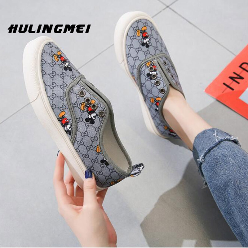 Flat Shoes Female 2020 New Korean Casual Lazy Shoes Cartoon Mickey Board Shoes For Women