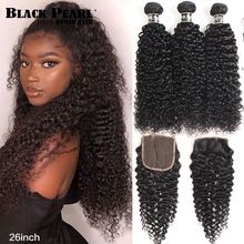Black Pearl  Human Hair 3 Bundles With Closure Non Remy Brazilian kinky Curly Bundles With Closure 1B# Hair Extension