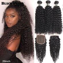Mechones de pelo humano con Perla Negra, mechones rizados, rizados, con cierre, no Remy, brasileño, 1B #