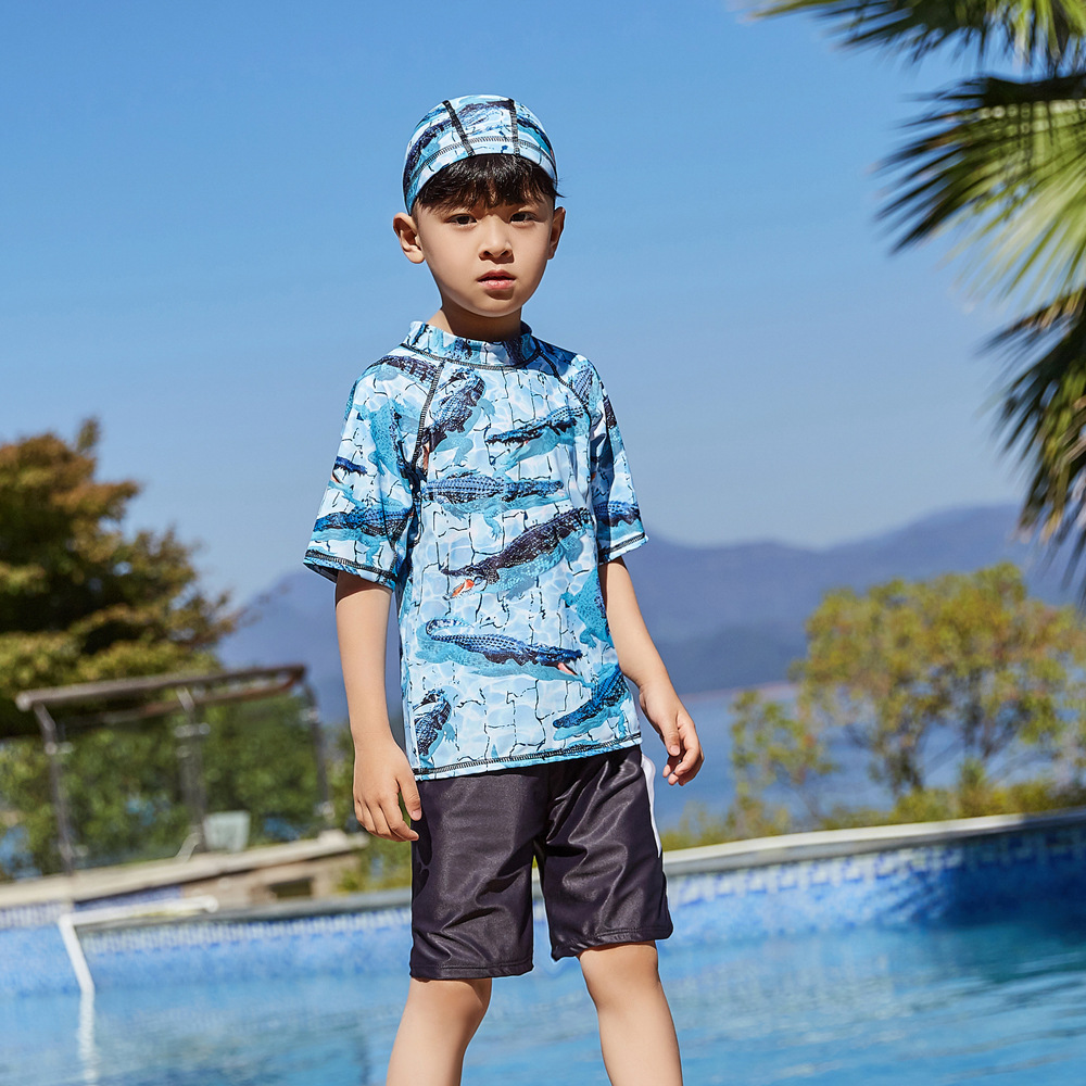 2019 New Style Hot Sales Two-piece Swimsuits Short Sleeve Shorts Hot Springs Cartoon Stand Collar BOY'S KID'S Swimwear AO1038