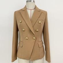 ハイストリート 2020 新ファッションデザイナーブレザー女性のライオンボタンダブルブレスト厚手の生地ブレザージャケットブラウン