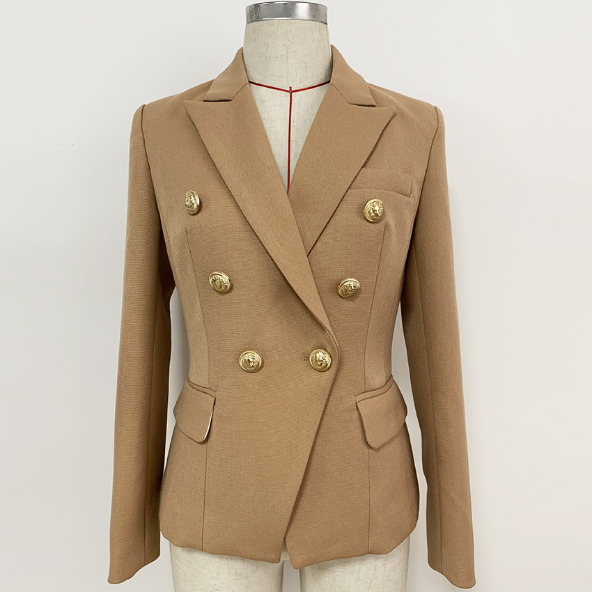 HIGH STREET 2020 New Fashion Designer Blazer Women's Lion Buttons Double Breasted Thick Fabric Blazer Jacket Brown