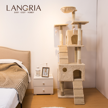 LANGRIA 68 Inch Multi-level Cat Tree Toy Comfortable Climbing Tree With Tall Tower Large Hammock Cat Toys For Play Time Sleeping