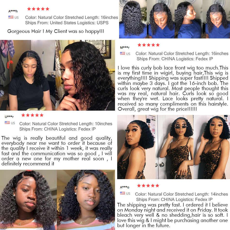 Wigirl brazylijski 13x4 koronki przodu włosów ludzkich peruk wstępnie oskubane z dzieckiem włosy głęboka fala 150% krótka woda kręcone Bob peruki dla kobiet