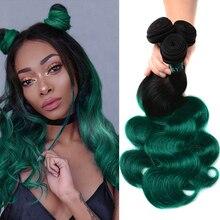 Sexay бирюзовые Омбре человеческие волосы 3/4 пряди предварительно окрашенные бразильские волосы два тона зеленые бразильские волнистые человеческие волосы для наращивания