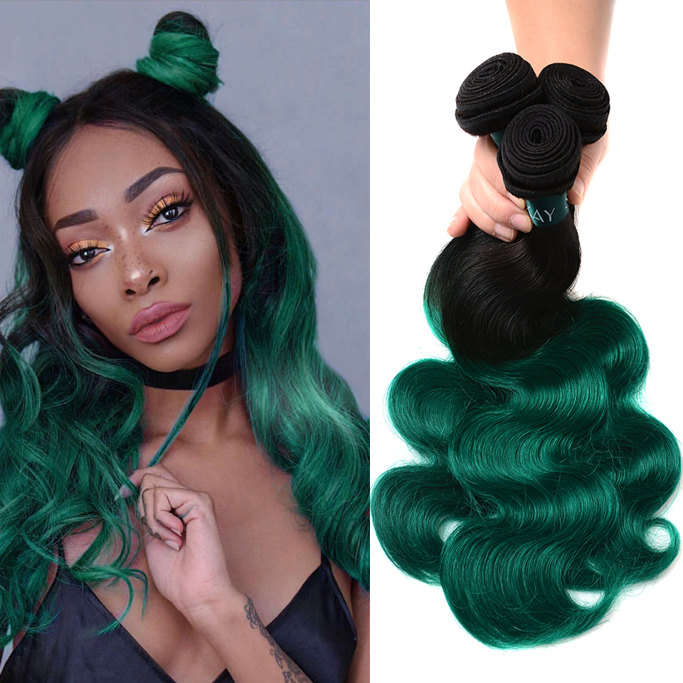Sexay Turquoise Ombre Human Hair 3/4 Bundles Pre-Colored Brazilian Hair Two Tone Green Brazilian Body Wave Human Hair Extensions