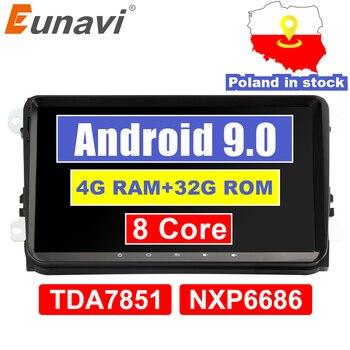 Eunavi 2 din 9 ''Android 9.0 4G RAM วิทยุสเตอริโอ GPS Navi สำหรับ VW Passat B6 CC polo GOLF 5 6 Touran Jetta Tiguan Magotan ที่นั่ง