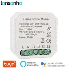 Lonsonho 2 Gang Smart Wifi Dimmer Interruttore del Relè Tuya Smart Home, Casa Intelligente Automazione Modulo di Controllo Remoto Compatibile Alexa Google Casa