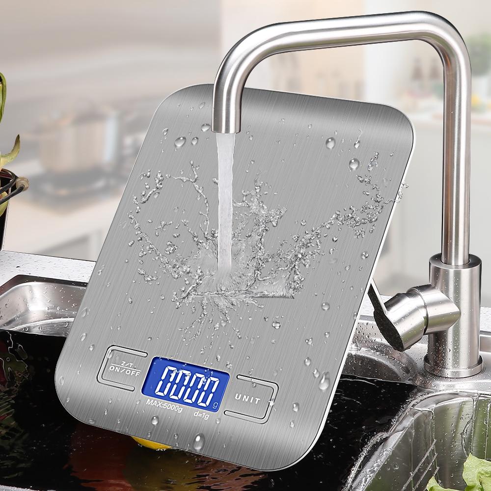 Кухонные весы из нержавеющей стали 10 кг/5 кг унций/мл/фунт/г, весы для взвешивания пищи, диеты, почтовый баланс, измерительный инструмент, ЖК-э...
