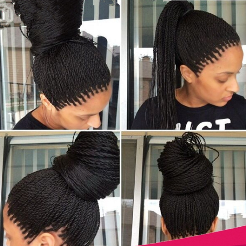 Fashion Synthetic Braided Lace Front Wigs For Black Women 1b Heat Resistant 24Inch Twist Braids Wigs With Baby Hair High Quality