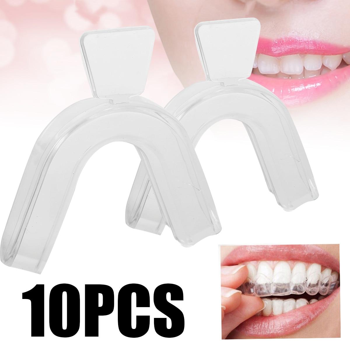 10pcs Food Grade Silicone Teeth Whitening Trays Dental Mouthguard Splint White Teeth Mouth Trays Guard Care Oral Hygiene