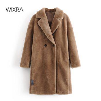 Wixra femmes manteau dames Faux vison fourrure Outwear longue veste en vrac Style de rue chaud pardessus automne hiver 1