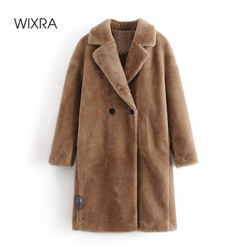 Wixra Womens Coat Ladies Faux Mink Fur Outwear Long Jacket Loose Street Style Warm Overcoat Autumn Winter