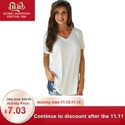 Женская футболка Летняя плюс размер футболка Повседневная Женская футболка однотонная с v-образным вырезом короткий рукав длинный