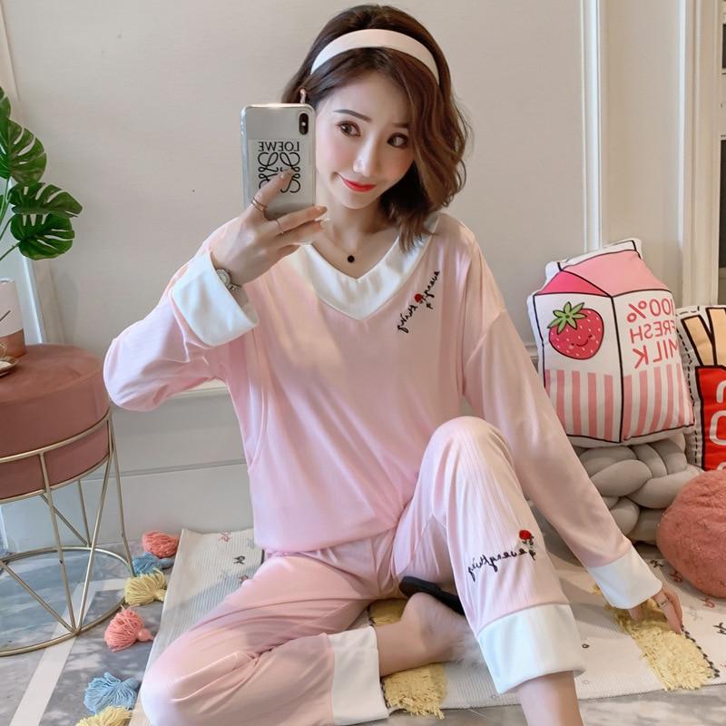Spring Summer Qmilch Pregnant Women Pajamas Buru Yi Pure Cotton Confinement Clothing Long-sleeve Suit Nursing Nursing Clothes