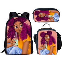 Children Bags for Kids Black Girl Custom pattern fashion Afro Lady Printing School Bag Teenagers Shoulder Book Bag(China)