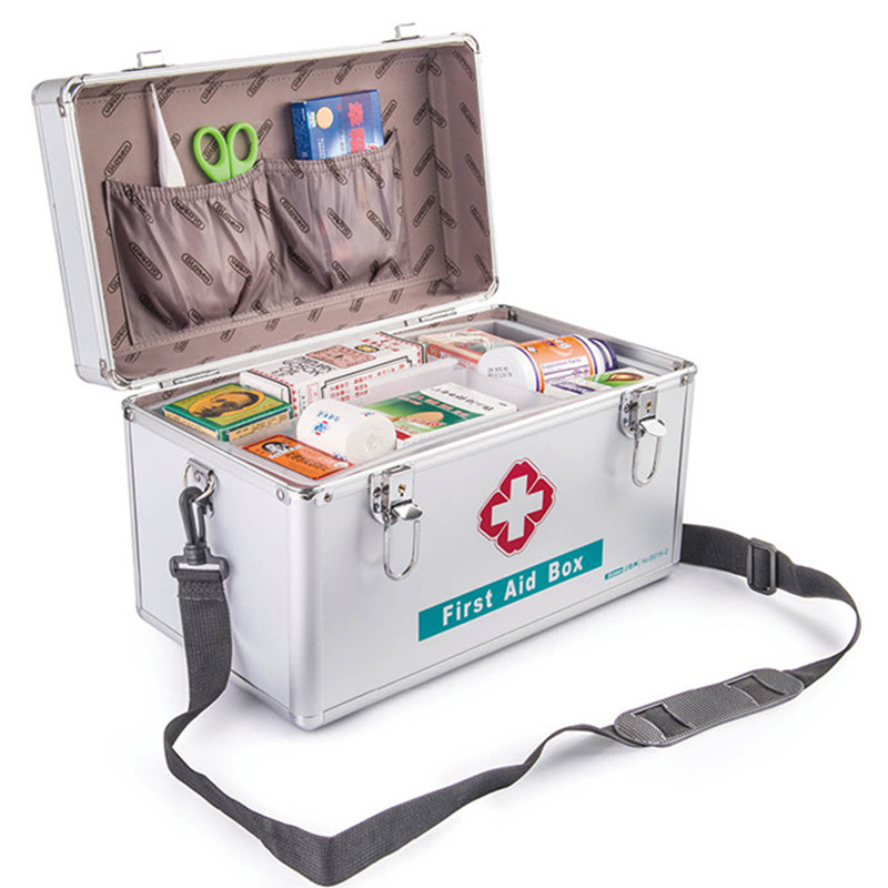Household Lockable Aluminium Emergency Box First Aid Kit Survival Kits Security Lock Storage Carrying Handle Case