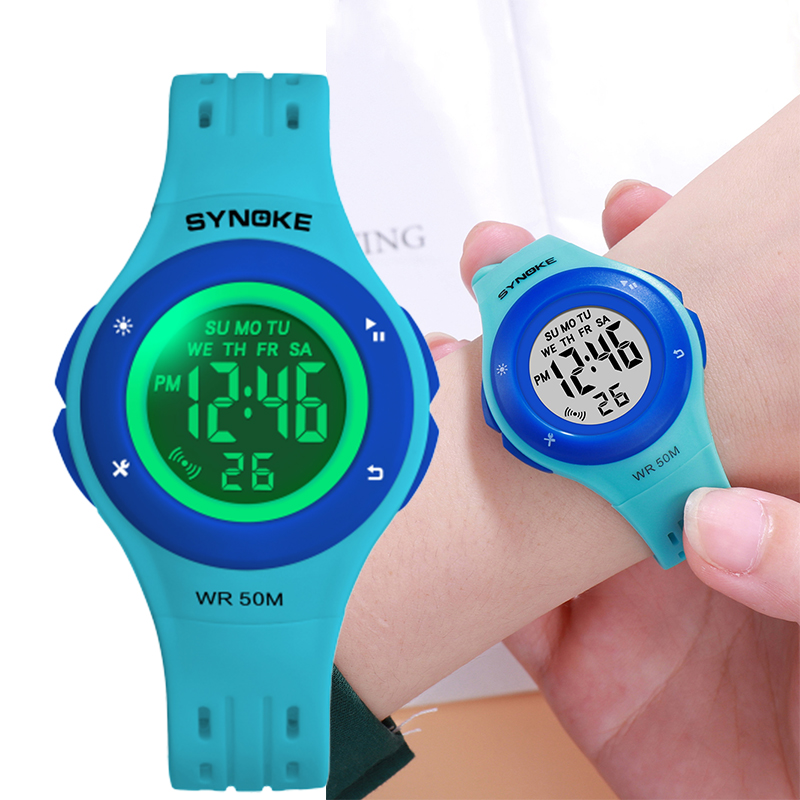 SYNOKE Kids Watch Fashion Design Digital Child Kids Wristwatch Boys Girls Silicone Strap 3M Waterproof Sport Alarm Clock Gift