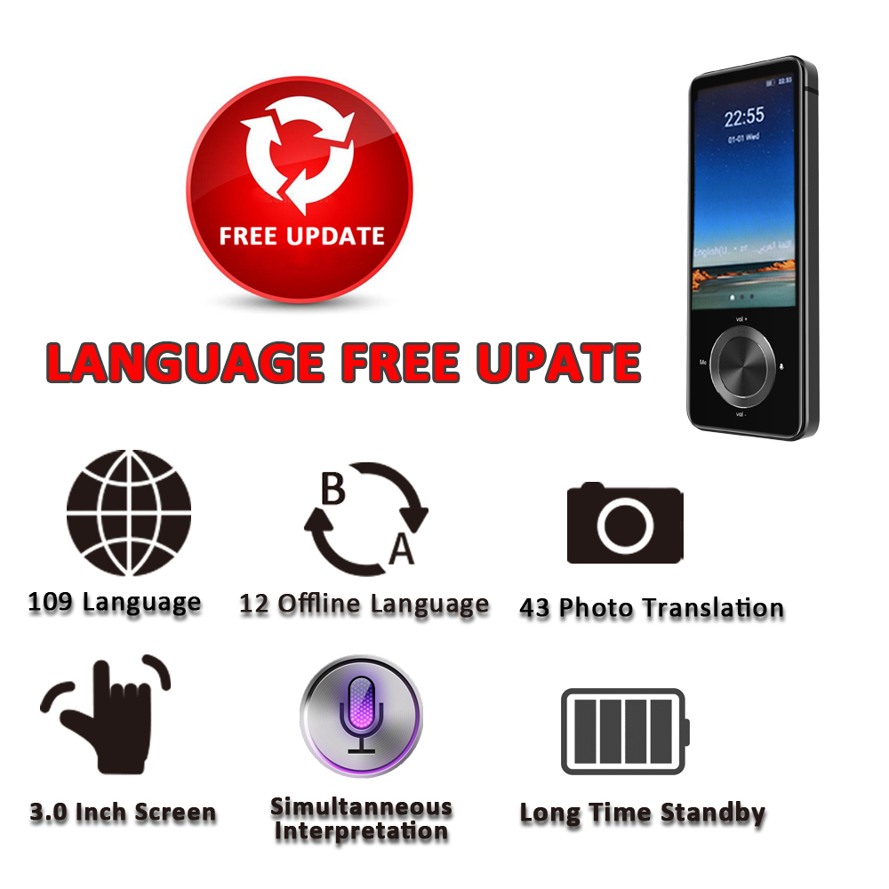 CTVMAN Portable Instant Voice Language Translator with offline Translation in Real Time including 3.0 Inch Touch Screen and 17 System Menu Language 12