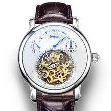 Nova suíça marca de luxo nesun oco tourbillon automático relógios mecânicos masculinos safira à prova dN9081 4 água energia relógio