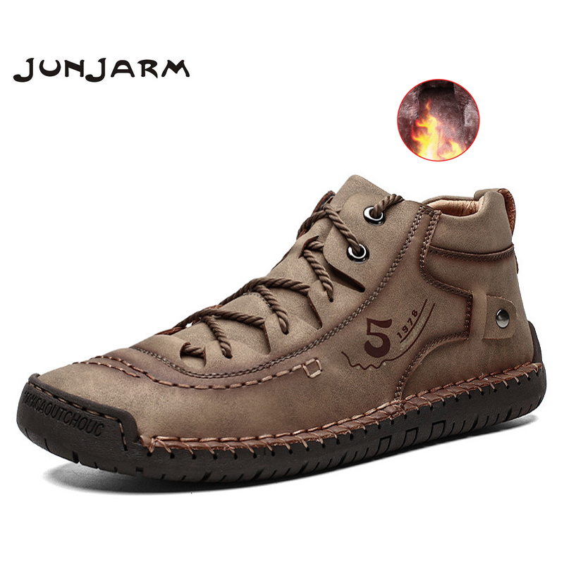 JUNJARM Handmade Leather Men Boots With Fur Winter Warm Casual Men Ankle Boots Hot Sale Snow Boots Men Sneakers Plus Size 48